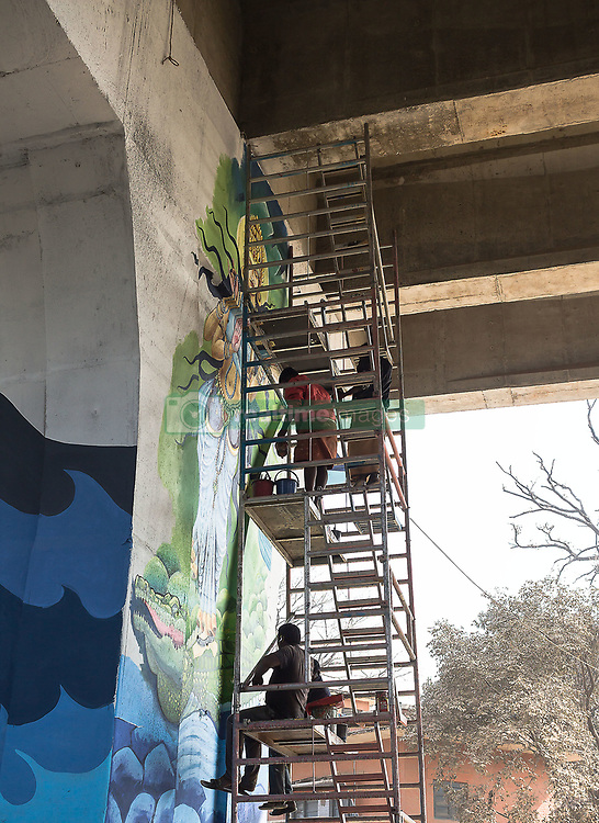 December 16, 2018 - December 17, 2018 - Allahabad, India - Aritists started paininting on various public places and walls on the ocassion of  Kumbh Mela, one of the largest religious gathering on earth and is held every 12 years at Prayagraj, formerly known as Allahabad. The city is going with various makeovers with beautiful paintings and murals to showcase rich cultural and religious heritage in the city. (Credit Image: © Sauvik Acharyya/ZUMA Wire)