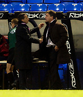 Photo: Jed Wee.<br /> Bolton Wanderers v Sevilla. UEFA Cup. 14/12/2005.<br /> <br /> Bolton manager Sam Allardyce (R) shakes hands with Sevilla counterpart Juande Ramos as a 1-1 draw sees both teams progress to the next round.