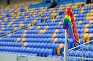 Rainbow corner flag during the EFL Sky Bet League 1 match between AFC Wimbledon and Bristol Rovers at Plough Lane, London, United Kingdom on 5 December 2020.