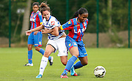 Mary Onianwa holding up the ball during the Pre-Season Friendly match between Crystal Palace LFC and Queens Park Rangers Ladies at the The Stadium, Bromley, United Kingdom on 19 July 2015. Photo by Michael Hulf.