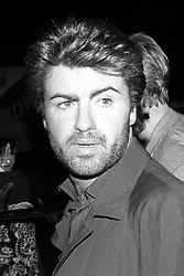 Pop star George Michael arrives at the London Arena in Limehouse for the Duran Duran concert.