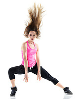 one caucasian woman modern  dancer dancing in studio isolated on white background
