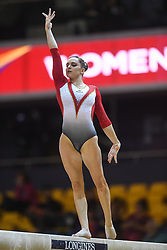 October 27, 2018 - Doha, Qatar - SOPHIE SCHEDER from Germany competes on the balance beam during the second day of preliminary competition held at the Aspire Dome in Doha, Qatar. (Credit Image: © Amy Sanderson/ZUMA Wire)