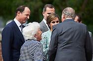Queen Letizia of Spain, King Juan Carlos of Spain, Menchu del Valle, Konstantin of Bulgary arrived Asuncion de Nuestra Senora Church for the First Communion of Princess Sofia on May 17, 2017 in Aravaca near of Madrid.