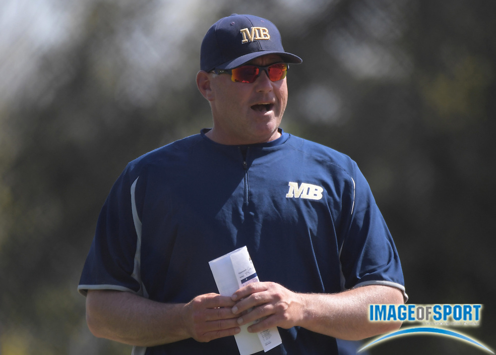 Cal State Monterey Bay Otters coach Walt White reacts during an NCAA College baseball game against the Cal  Poly Pomona Broncos in Pomona, Calif., Friday, April 13, 2018.