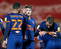 Blackpool's CJ Hamilton celebrates scoring his side's second goal with Ethan Robson<br /> <br /> Photographer Alex Dodd/CameraSport<br /> <br /> The EFL Sky Bet League One - Doncaster Rovers v Blackpool - Tuesday 24th November 2020 - Keepmoat Stadium - Doncaster<br /> <br /> World Copyright © 2020 CameraSport. All rights reserved. 43 Linden Ave. Countesthorpe. Leicester. England. LE8 5PG - Tel: +44 (0) 116 277 4147 - admin@camerasport.com - www.camerasport.com