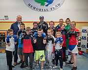 NO FEE PICTURES<br /> 22/7/18 Actor Liam Neeson, who is currently fliming in Northern Ireland, stopped by O'Hanlon Park Amateur Boxing Club, Dundalk today, much to the surprise and delight of local community members. The Club/Community Hall is open to members of the community of all ages - children from seven years of age right through to adults who have reached retirement age. Neeson is a long time friend of Hotelier John Fitzpatrick who has been involved with the boxing club since 2011 when he made a donation to the Club when he participated in The Secret Millionaire show which aired on RTE 1.   Following the broadcast of the programme, John helped raise more than €425,000 through the Eithne & Paddy Fitzpatrick Memorial Fund and the Boxing Club raised over €56,000 including a grant, to enable the Club move to the new building.. Picture:Arthur Carron