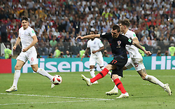 MOSCOW, July 11, 2018  Mario Mandzukic (2nd R) of Croatia shoots to score during the 2018 FIFA World Cup semi-final match between England and Croatia in Moscow, Russia, July 11, 2018. (Credit Image: © Cao Can/Xinhua via ZUMA Wire)