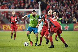December 9, 2017 - Toronto, Ontario, Canada - Seattle Sounders midfielder CLINT DEMPSEY (2) fights for the ball against Toronto FC midfielder MICHAEL BRADLEY (4) in the closing minutes during the MLS Cup championship match at BMO Field in Toronto, Canada.  Toronto FC defeats Seattle Sounders 2 to 0. (Credit Image: © Mark Smith via ZUMA Wire)