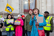 Frances O'Grady, General Secretary of the TUC joins workers of Interserve, the cleaning contractors for the Foreign and Commonwealth Office FCO who are striking for better working conditions and union recognition on the 11th of February 2020 in Westminster, London, United Kingdom.