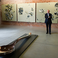 VENICE, ITALY April 8th: Francois Pinault poses in front of work of Artist Subodh Gupta a t the opening of the Exhibition In Praise of Doubt at Punta della Dogana  organised by the Francois Pinault Foundation ...HOW TO BUY THIS PICTURE: please contact us via e-mail at sales@xianpix.com or call our offices in Milan at (+39) 02 400 47313 or London   +44 (0)207 1939846 for prices and terms of copyright.