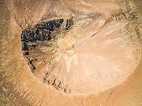 Aerial view of Caldera de Gairia volcano crater in Fuerteventura, Canary Islands.