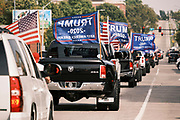 26 SEPTEMBER 2020 - DES MOINES, IOWA: A  Donald J. Trump motorcade heads up Court Avenue towards the Iowa State Capitol. More than 1,500 people in 500 vehicles participated in motorcade through Des Moines Saturday. They started in the suburbs south of downtown, drove through downtown, and ended at the State Capitol.       PHOTO BY JACK KURTZ