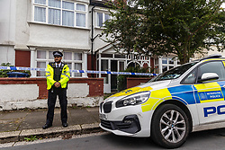 Licensed to London News Pictures. 15/09/2021. London, UK.  Police at the scene of a murder in Ealing. A murder investigation was launched after the death of a 5 year old girl in a house in Ealing, West London yesterday. A 31 year old women who was known to the girl was arrested at the house on the suspicion of murder, and remains in police custody. Photo credit: Alex Lentati/LNP
