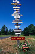 Family name signs on a rural road Liberty Maine.