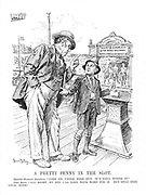 "A Pretty Penny in the Slot. Master Stanley Baldwin. ""Come on, Uncle, fork out; it's well worth it."" John Bull. ""All right, my boy, I'll take your word for it. But only this once, mind."""