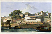 Part of the city of Patna, on the River Ganges, November 1795 The large and populous City of Patna is in the province of Bahar. The gauts, or steps leading up from the river, are very numerous here, and are intended for the advantage of merchandise, as well as the convenience of the Hindoos, whose religious duties oblige them frequently to perform ablutions in the sacred river Ganges. The larger building is the house of an Hindoo merchant, and is an example of the general style of buildings on the river side inhabited by men of that class. From the book ' Oriental scenery: one hundred and fifty views of the architecture, antiquities and landscape scenery of Hindoostan ' by Thomas Daniell, and William Daniell, Published in London by the Authors January 1, 1812