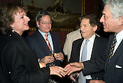ROSA MONCKTON, DOMINIC LAWSON, NIGEL LAWSON AND PETER MAYER. Book launch for AN APPEAL TO REASON, A Cool Look at Global Warming by Nigel Lawson. Hosted by NIGELLA LAWSON, DUCKWORTH PUBLISHERS and ED VICTOR LTD.<br />