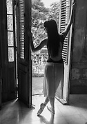 Carolina Garcia of the Cuban National Ballet poses in a private mansion in Habana, Cuba.