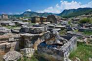 Picture of Tombs North Necropolis. Hierapolis archaeological site near Pamukkale in Turkey. .<br /> <br /> If you prefer to buy from our ALAMY PHOTO LIBRARY  Collection visit : https://www.alamy.com/portfolio/paul-williams-funkystock/pamukkale-hierapolis-turkey.html<br /> <br /> Visit our TURKEY PHOTO COLLECTIONS for more photos to download or buy as wall art prints https://funkystock.photoshelter.com/gallery-collection/3f-Pictures-of-Turkey-Turkey-Photos-Images-Fotos/C0000U.hJWkZxAbg