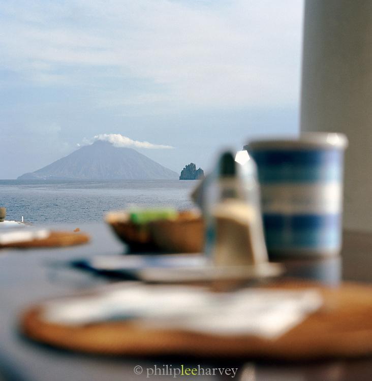 View of Stromboli from Hotel Raya, Panarea, Aeolian Islands, Italy