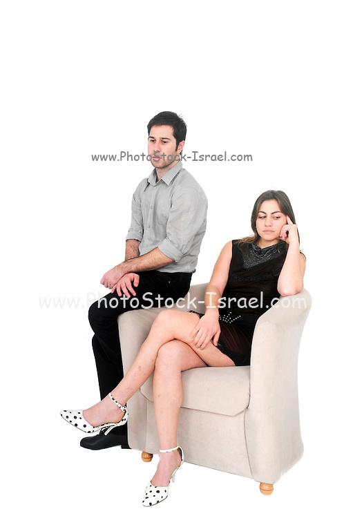 alienated couple On white Background