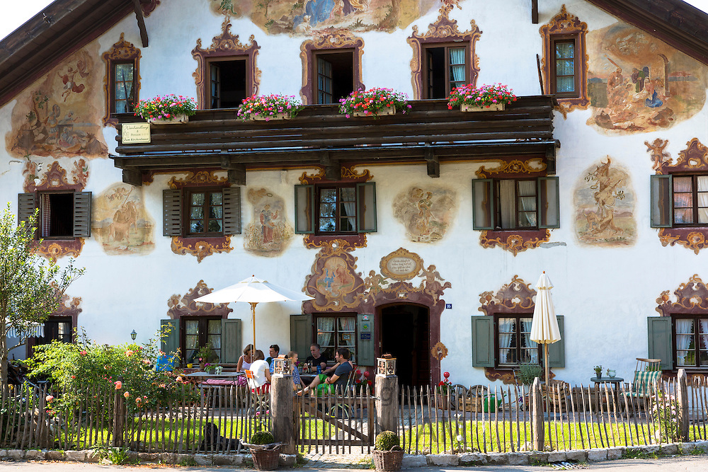 Religious painting on Beim Kirchenbauer pension and wine estate in village of Oberammergau in Upper Bavaria, Germany
