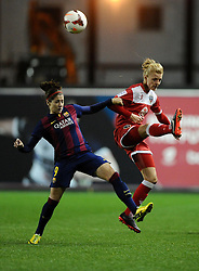 FC Barcelona's Maria Victoria Losada battle for possession Bristol Academy Womens' Sophie Ingle  - Photo mandatory by-line: Joe Meredith/JMP - Mobile: 07966 386802 - 13/11/2014 - SPORT - Football - Bristol - Ashton Gate - Bristol Academy Womens FC v FC Barcelona - Women's Champions League