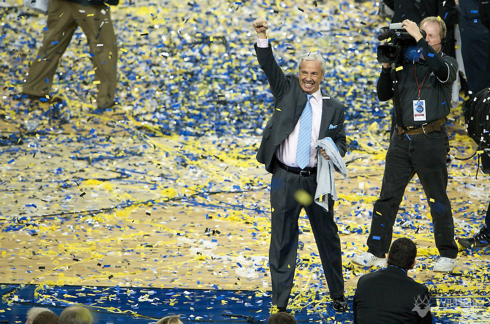 06 APR 2009: Coach Roy Williams of the University of North Carolina during the final game of the 2009 NCAA Final Four Division I Men's Basketball championships held at Ford Field in Detroit, MI. North Carolina defeated Michigan State 89-72 to win the national title. © Brett Wilhelm