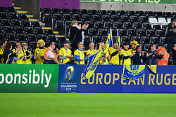 Jubilant Clermont Auvergne fans after the victory over the Ospreys - Mandatory by-line: Craig Thomas/JMP - 15/10/2017 - RUGBY - Liberty Stadium - Swansea, Wales - Ospreys Rugby v Clermont Auvergne - European Rugby Champions Cup