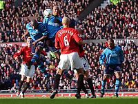 Shaun Goater heads the Manchester City goal. Manchester United v Manchester City, FA Premiership, 8/02/2003. Credit: Matthew Impey, Digitalsport