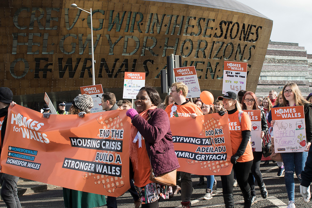 Cardiff, Wales, United Kingdom. 4 March 2016. Protesters rally at the Senedd, Cardiff as part of the Homes for Wales campaign, for a right to a decent affordable home to call their own. © Craig Redmond - Photojournalist