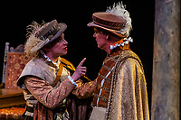 """Mary Stuart"" (the story of Queen Elizabeth I and her cousin, Mary Queen of Scots) performed at the Tony Award-winning Utah Shakespeare Festival, Adams Memorial Outdoor Stage, Cedar City, Utah USA."