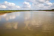 High tide looking upstream Butley Creek river, Suffolk, England, UK
