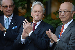 Leonardo DiCaprio, Ban Ki-moon,Michael Douglas, Jane Goodall, attend Peace Bell Ceremony on the Occasion of the 35th Anniversary of the International Day of Peace (21 September) in New York City, NY, USA, on September 16, 2016. Photo by Dennis Van Tine/ABACAPRESS.COM