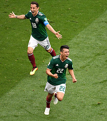 MOSCOW, June 17, 2018  Hirving Lozano (R) celebrates his scoring during a group F match between Germany and Mexico at the 2018 FIFA World Cup in Moscow, Russia, June 17, 2018. (Credit Image: © Wang Yuguo/Xinhua via ZUMA Wire)