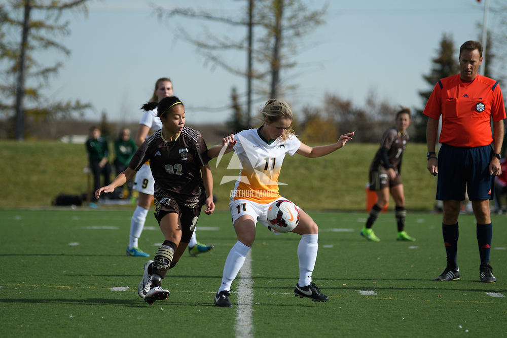 5th year midfielder Karlee Vorrieter (11) of the Regina Cougars in action during the Women's Soccer Home Game on October 15 at U of R Field. Credit: Arthur Ward/Arthur Images