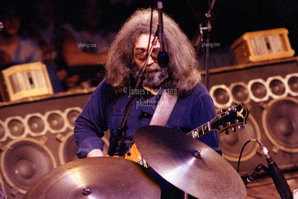 Grateful Dead Concert New Haven Coliseum 17 January 1979. Jerry from behind stage. Also in view, stage monitors.