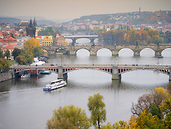 View of Bridges crossing Vltava River in Prague in Czech Republic