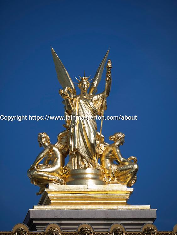 Gold statue on L'Opera in Paris France