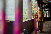 Some incense sticks and a monk are seen in a Buddhist temple in the Bamboo Sea National Park (Chinese:南山竹海) in Yibin, China, August 07, 2014.<br /> <br /> Confucianism, Taoism and Buddhism are the three major religions in China. Temples and statues witness their ancient roots all over the Chinese country.<br /> <br /> © Giorgio Perottino