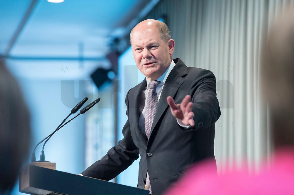 09 MAY 2019, BERLIN/GERMANY:<br /> Olaf Scholz, SPD, Bundesfinanzminister, haelt eine Rede, Wirtschaftskonferenz, Wirtschaftsforum der SPD, Kalkscheune<br /> IMAGE: 20190509-01-208