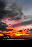 Sunset over the Albert Nile RIver, Murchison Falls National Park, Uganda.