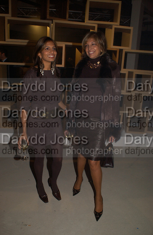 Divia Lalvani and Mrs. Vimla Lalvani, Exhibition of furniture by Rolf Sachs,  Looise Guinness Gallery, 250 Brompton Rd. ONE TIME USE ONLY - DO NOT ARCHIVE  © Copyright Photograph by Dafydd Jones 66 Stockwell Park Rd. London SW9 0DA Tel 020 7733 0108 www.dafjones.com