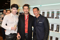Left to right, LEON ELSE, ROBERT KONJIC and ROBERT TATEOSSIAN at a party in celebration of LCM 2015 and the launch of the Tateossian's first ever men's-only boutique at 55 Sloane Square, London on 10th January 2015.