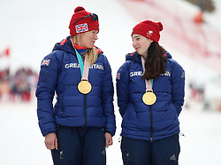 Great Britain's Menna Fitzpatrick (right) and her guide Jennifer Kehoe (left) celebrate gold in the Women's Slalom, Visually Impaired at the Jeongseon Alpine Centre during day nine of the PyeongChang 2018 Winter Paralympics in South Korea.