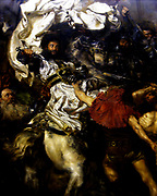 The Battle of Grunwald (1st Battle of Tannenberg) July 15, 1410. king Jogaila (W?adys?aw II Jagie??o) led Kingdom of Poland and the Grand Duchy of Lithuania in alliance against the knights of the Teutonic Order who were led by the Grand Master Ulrich von Jungingen. Death of Ulrich von Jungingen in battle of Grunwald. deatail from the Battle of Grunwald by Jan Matejko (1838–1893)