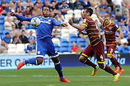 Cardiff City's Kenneth Zohore (l) controls the ball past QPR's Grant Hall. EFL Skybet championship match, Cardiff city v Queens Park Rangers at the Cardiff city stadium in Cardiff, South Wales on Sunday 14th August 2016.<br /> pic by Carl Robertson, Andrew Orchard sports photography.