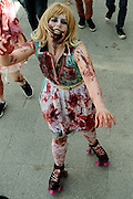 """The inaugural """"Join the Horde"""" Zombie Walk in Perth, Western Australia, Oct 12, 2013.<br /> The Zombie Walk raised funds for The Brain Foundation, a nationally registered charity funding world-class research across Australia into neurological disorders, brain disease and brain injuries."""