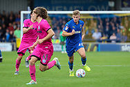 AFC Wimbledon midfielder Max Sanders (23) dribbling during the EFL Sky Bet League 1 match between AFC Wimbledon and Rochdale at the Cherry Red Records Stadium, Kingston, England on 5 October 2019.